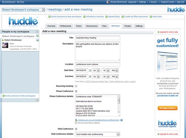 Screenshot of Huddle dashboard, a online collaboration tool for teams.