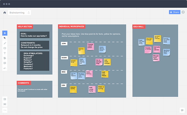 RealtimeBoard canvas for visual and creative online team collaboration.