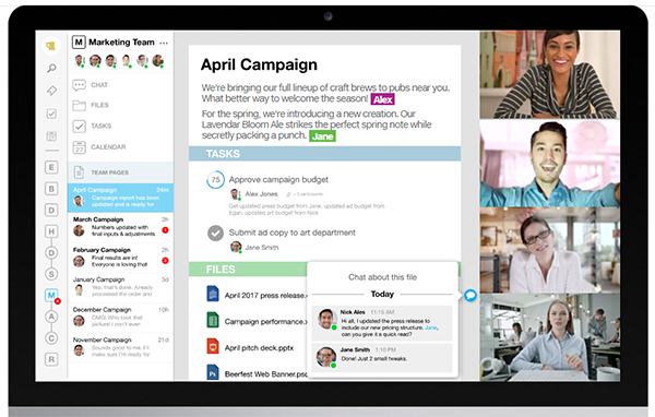 Interface of Samepage, online communication tool for remote teams.